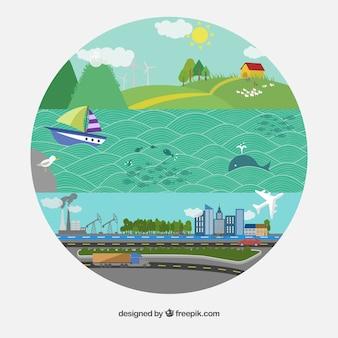 Ilustración redonda para el día de la tierra