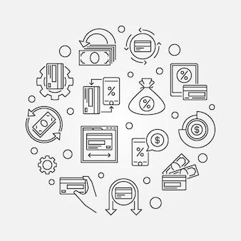 Ilustración redonda redonda de devolución de efectivo - signo de devolución de efectivo