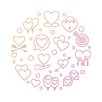 Ilustración redonda romántica