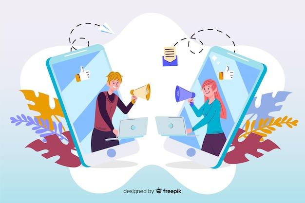 Ilustración de referir un concepto de amigo