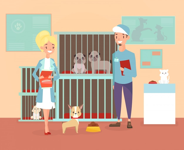 Ilustración de refugio de animales con personajes voluntarios con perros y gatos. refugio, adoptar el concepto de mascotas. felices mascotas en refugio con veterinarios en estilo plano de dibujos animados.