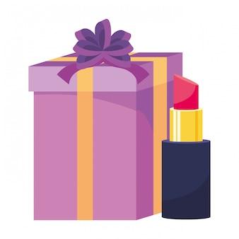Ilustración de regalo y lápiz labial