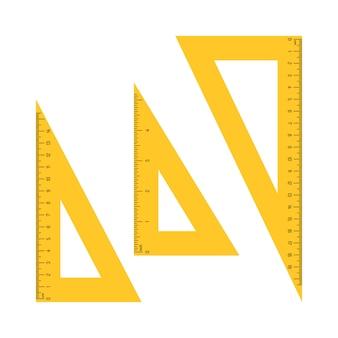 Ilustración de reglas de medición de triángulo aislado sobre fondo blanco.