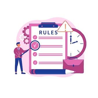 Ilustración de las reglas de la oficina