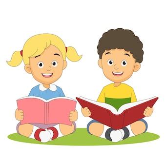 Ilustración de regreso a la escuela con niño y niña leyendo