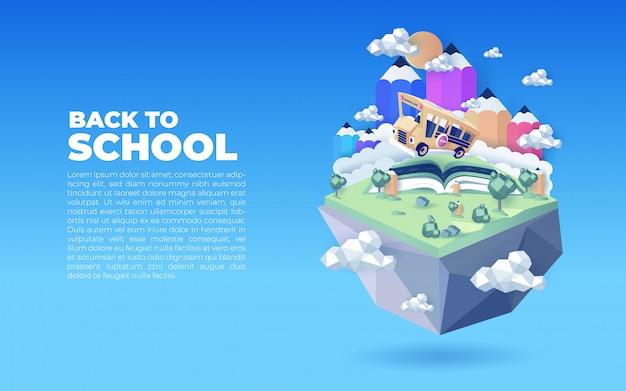 Ilustración de regreso a la escuela con plantilla de texto