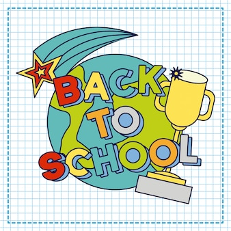 Ilustración de regreso a la escuela con trofeo y papel