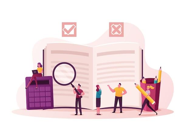 Ilustración de regulación. los personajes diminutos escriben reglas en la lista de verificación con información sobre leyes