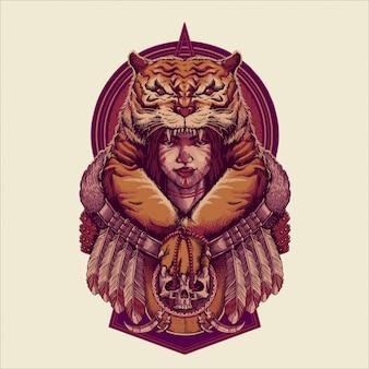 Ilustración de la reina de tigres