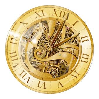 Ilustración de reloj de oro vintage