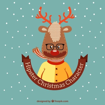 Ilustración de reno hipster navideño