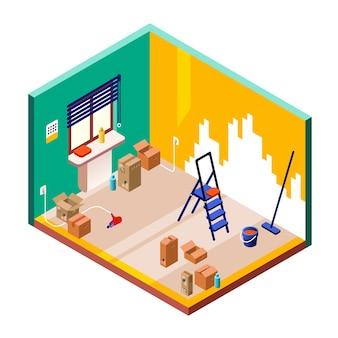Ilustración de renovación de la sala de la sección transversal isométrica del interior de la habitación pequeña moderna