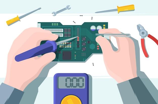 Ilustración de reparación de placa de computadora