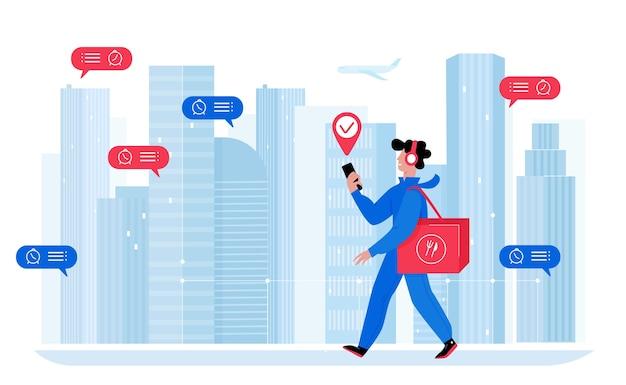 Ilustración de repartidor. mensajero de dibujos animados con caja de producto de mochila caminando por la ciudad, personaje de cartero entregando paquetes. envío exprés, servicio de entrega a domicilio en blanco