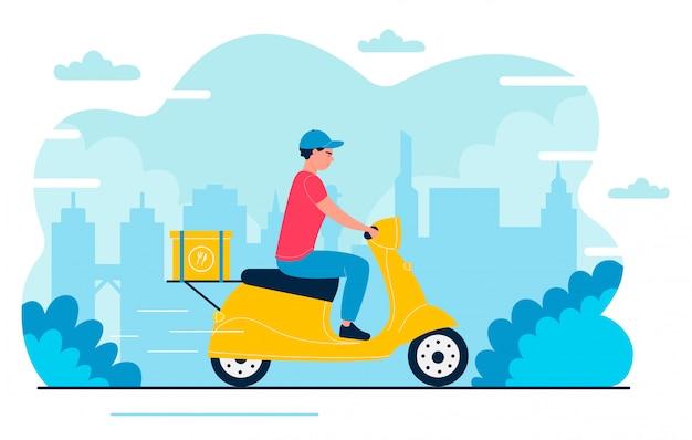 Ilustración de repartidor. mensajero plano rápido de dibujos animados, personaje de cartero conduciendo scooter, entregando la caja del paquete en envío expreso a la dirección de casa. servicio de entrega rápida aislado
