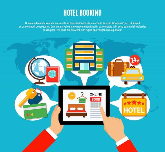 Ilustración de reserva de hotel