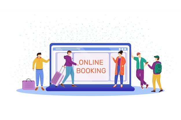 Ilustración de reserva en línea. elegir hotel en internet. hacer reserva en el sitio web. turistas con equipaje, maletas. preparación para viaje, viaje, personajes de dibujos animados de vacaciones