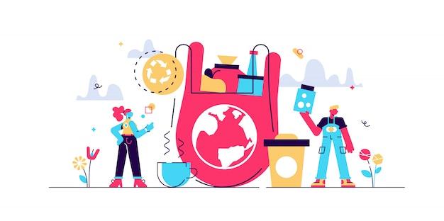 Ilustración de residuos cero. pequeño reducir el concepto de personas de embalaje. uso de frascos y bolsas reutilizables para salvar el medio ambiente de la tierra y la contaminación de los recursos. estilo de vida ecológico ecológico sin basura.