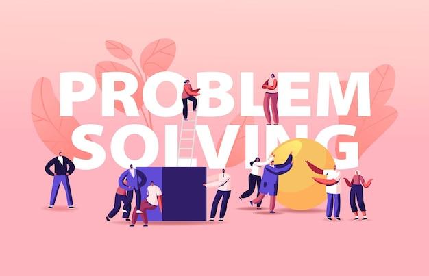 Ilustración de resolución de problemas con gente de negocios