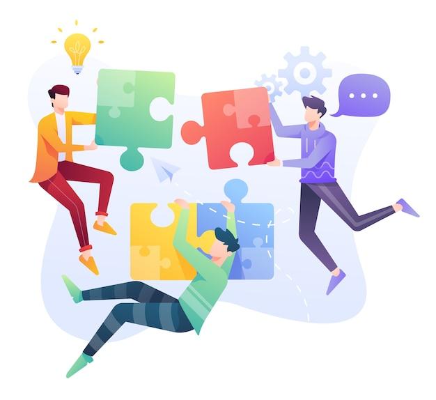 Ilustración de resolución de problemas, trabajo en equipo para encontrar una solución al problema empresarial.