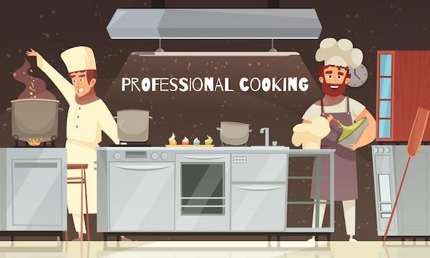 Ilustración de restaurante de cocina profesional
