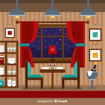 Ilustración restaurante plano
