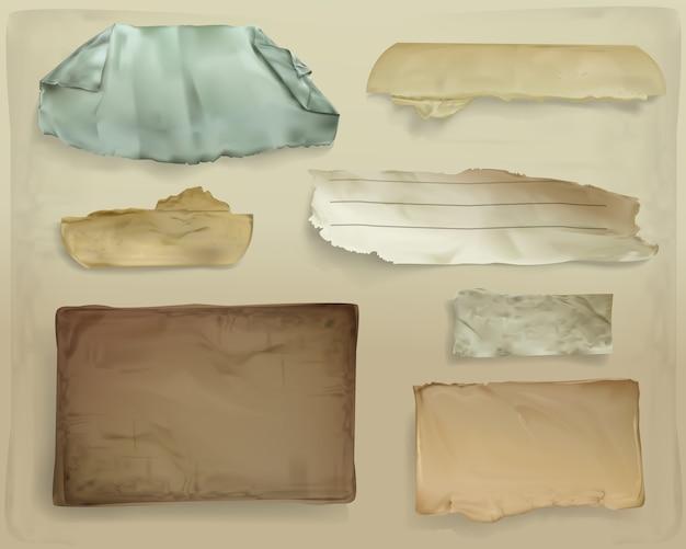 Ilustración de restos de papel de hojas rasgadas de papel viejo realista o jirones de página desigual