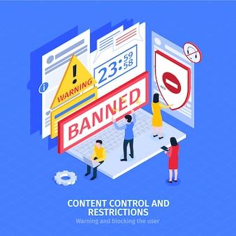 Ilustración de restricciones y control de contenido isométrico.