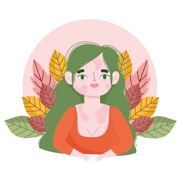 Ilustración de retrato de dibujos animados de flores de vitiligo de mujer perfectamente imperfecta