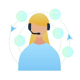 Ilustración retrato mujer trabajadora call center
