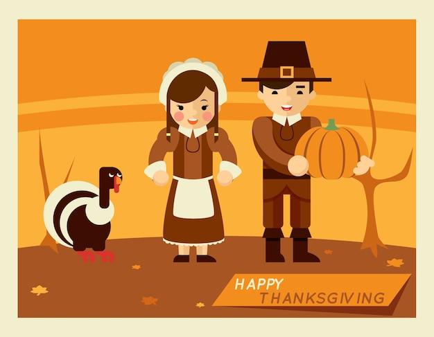 Ilustración retro de acción de gracias. personajes de dibujos animados en medio del paisaje otoñal.