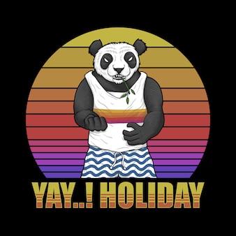 Ilustración retro del atardecer de panda holiday