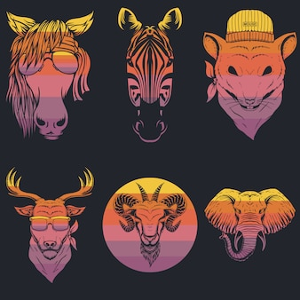 Ilustración retro de cabeza de animal