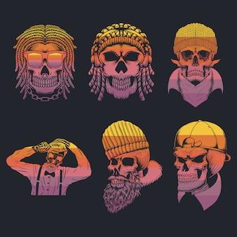 Ilustración retro de la colección del cráneo