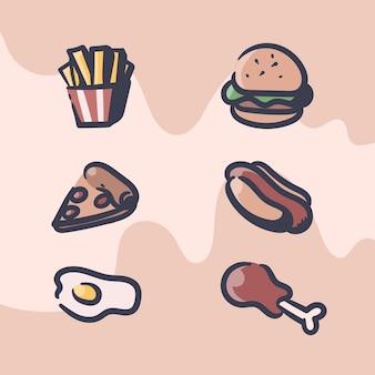 Ilustración retro de comida rápida