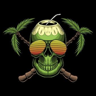 Ilustración retro de cráneo de coco