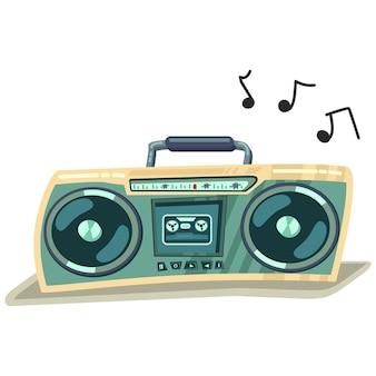 Ilustración retro de dibujos animados de grabadora estéreo de cassette boombox aislada sobre fondo blanco.