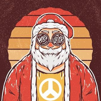 Ilustración retro hippie santa claus