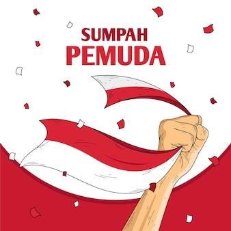 Ilustración retro de sumpah pemuda