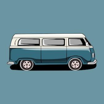 Ilustración retro vintage camper van car