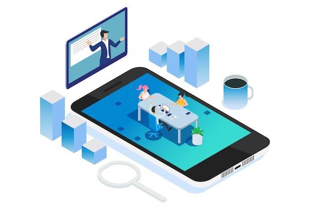 Ilustración de reunión de reclutamiento de negocios remoto isométrico moderno