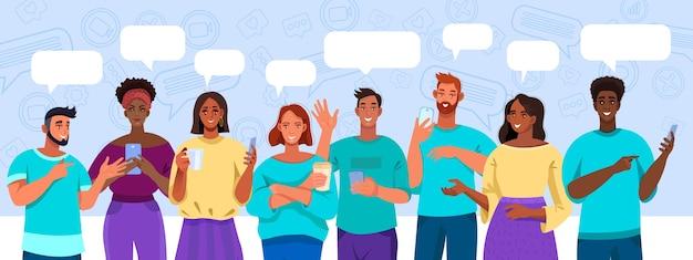 Ilustración de reunión virtual y chat grupal con diversas personas multinacionales con teléfonos inteligentes
