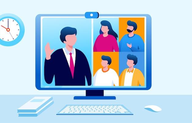 Ilustración de reunión virtual de grupo en línea