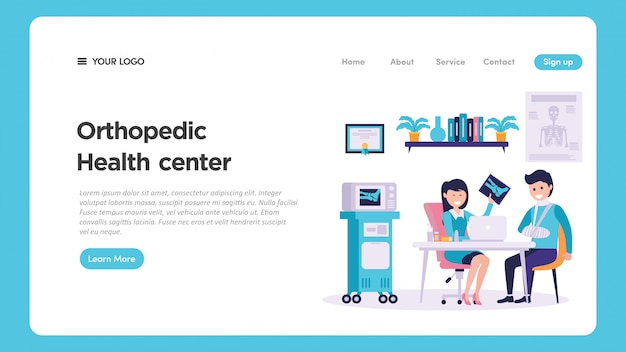 Ilustración de revisión médica ortopédica para la página web