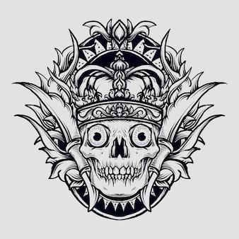 Ilustración, rey, cráneo, grabado, ornamento