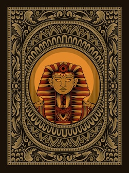 Ilustración rey egipto en marco de adorno vintage