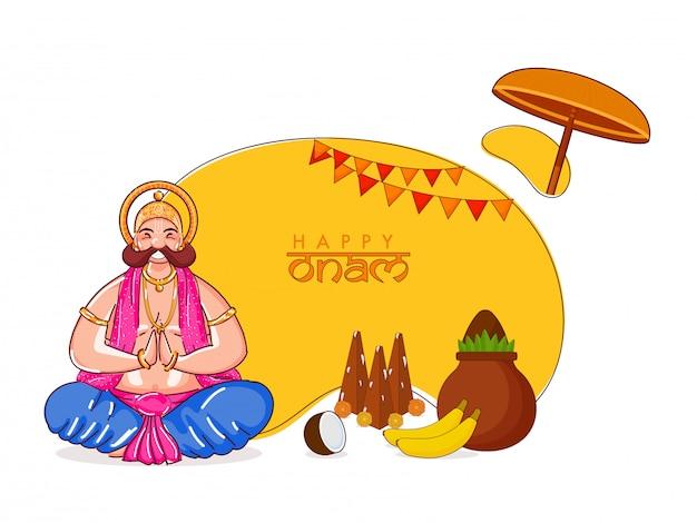 Ilustración del rey mahabali doing namaste de la felicidad en postura sentada con thrikkakara appan idol, frutas y adoración pot (kalash) sobre fondo amarillo y blanco para happy onam.