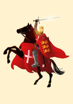Ilustración del rey ricardo corazón de león sosteniendo una espada y un escudo a caballo