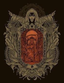 Ilustración rey satanás en estilo de adorno de grabado gótico