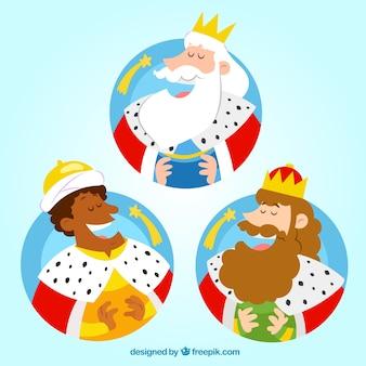 Ilustración de los reyes magos en estilo divertido